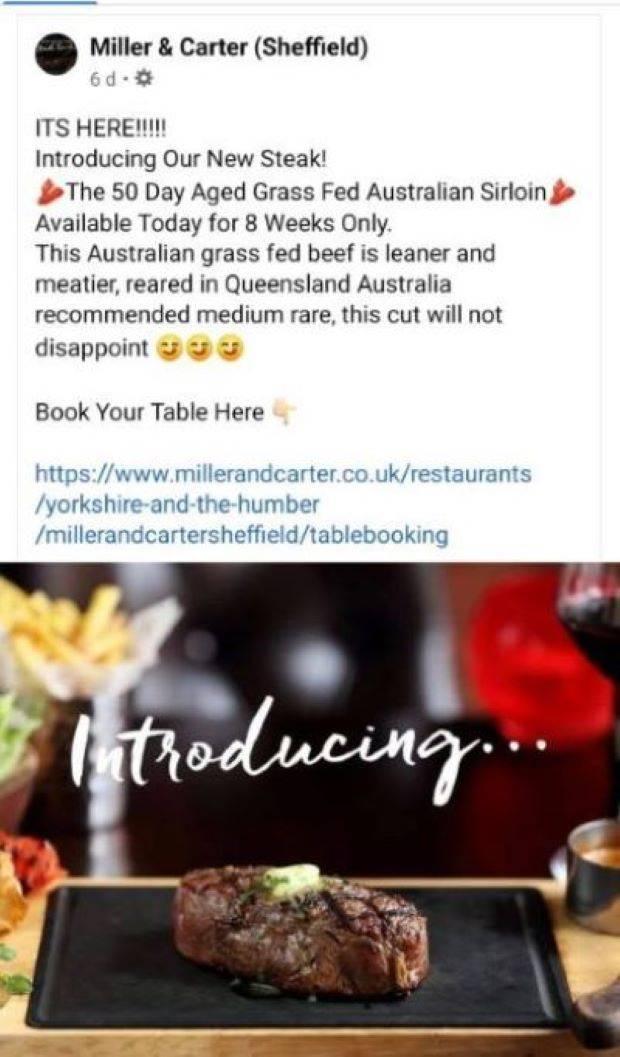 National Beef Association (NBA) questions Miller & Carter's 'crass' promotion of Australian steak