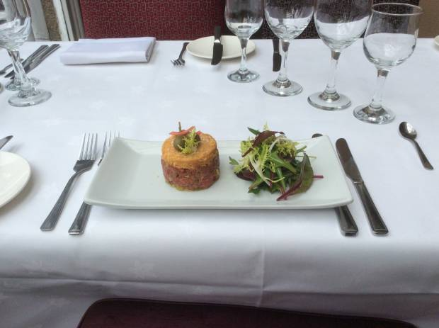 Tartare Of Pan Fried Beef Parmesan Crumble Baby Spinach Salad